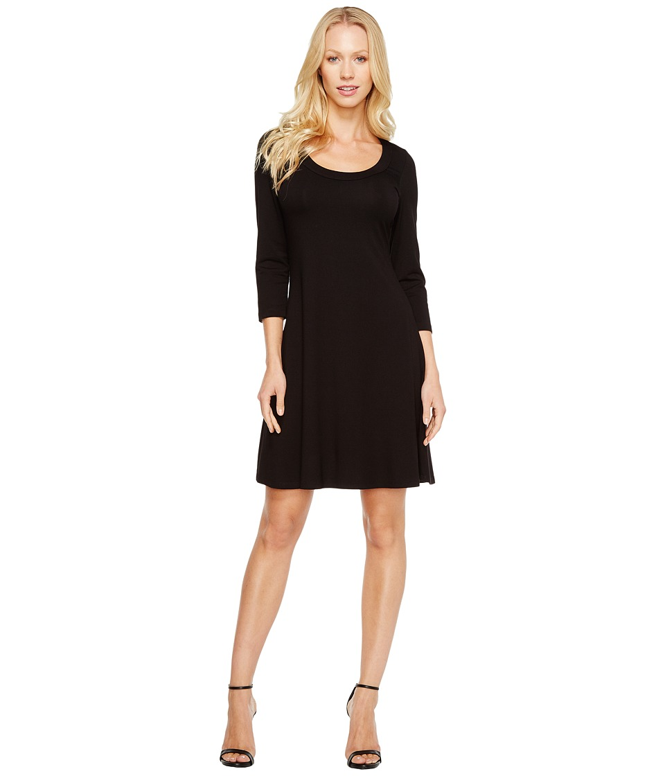 Karen Kane - 3/4 Sleeve A-Line Dress (Black) Womens Dress