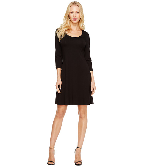 Karen Kane - 3/4 Sleeve A-Line Dress (Black) - Apparel