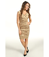 Nicole Miller - Techno Metal Cap Sleeve Tucked Dress