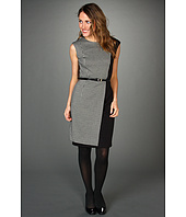 Calvin Klein - Asymmetric Houndstooth Colorblock Dress