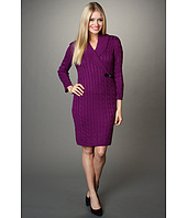 Calvin Klein - Textured Sweaterdress w/ Shawl Collar