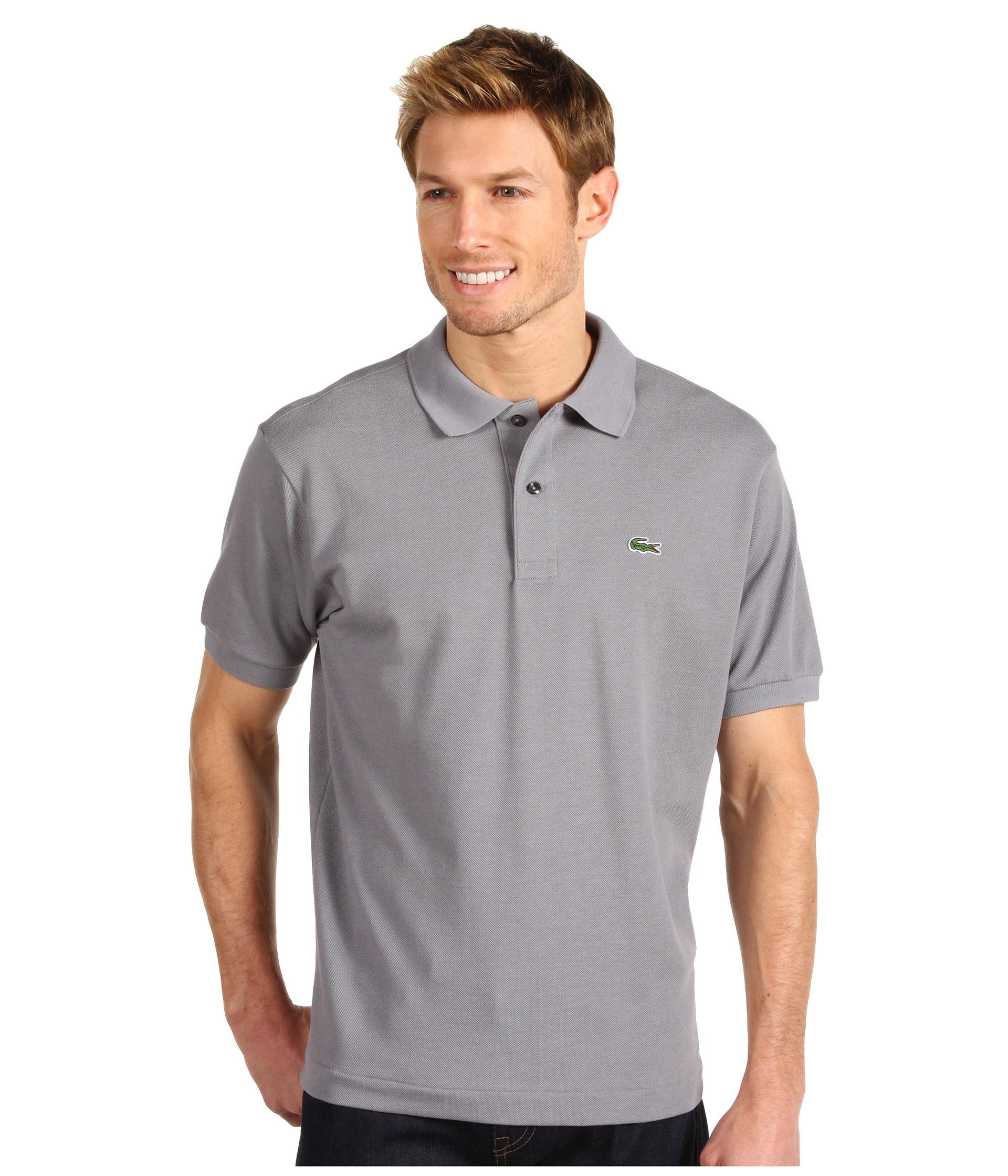 Lacoste l1212 classic pique polo shirt platinum zappos for Lacoste size 4 polo shirt