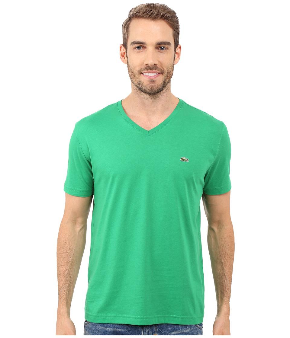 Lacoste - S/S Pima Jersey V-Neck T-Shirt (Chlorophyll Green) Men