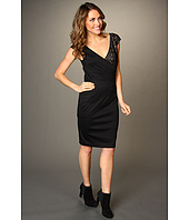 London Times - Cap Sleeve V-Neck Side Ruched Sheath Dress