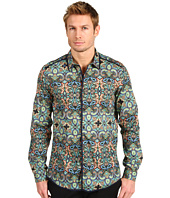Just Cavalli - Indian Wallpaper Print Stretch Cotton Poplin Button Up