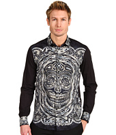 Just Cavalli - Sugar Skull Print Stretch Cotton Poplin Button Up
