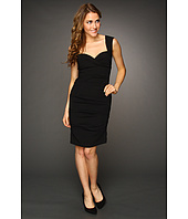 Nicole Miller - Satin Crepe Tucked Dress