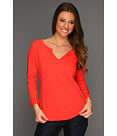 C&C California - Three-Quarter Roll Sleeve Split Neck Top