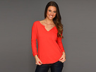 Three-Quarter Roll Sleeve Split Neck Top
