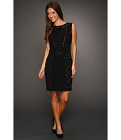 ABS Allen Schwartz - Sleeveless Round Neck Fitted Studded Ponte Dress