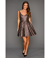 ABS Allen Schwartz - V-Neck Cocktail A-Line Dress w/Tulle Skirt