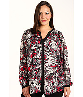DKNYC - Plus Size L/S V-Neck Hidden Button Tunic