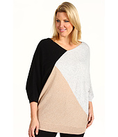 DKNYC - Plus Size Three Quarter Dolman Sleeve Color Block Sweater