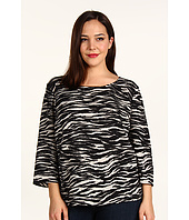 DKNYC - Plus Size Three-Quarter Sleeve Crew Neck Top