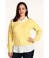 DKNYC - Plus Size L/S Pullover Sweater w/ Faux Blouse