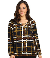 MICHAEL Michael Kors Plus - Plaid Blouson Peasant Top