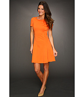Halston Heritage - Short Sleeve Dress with Cross Neck Detail