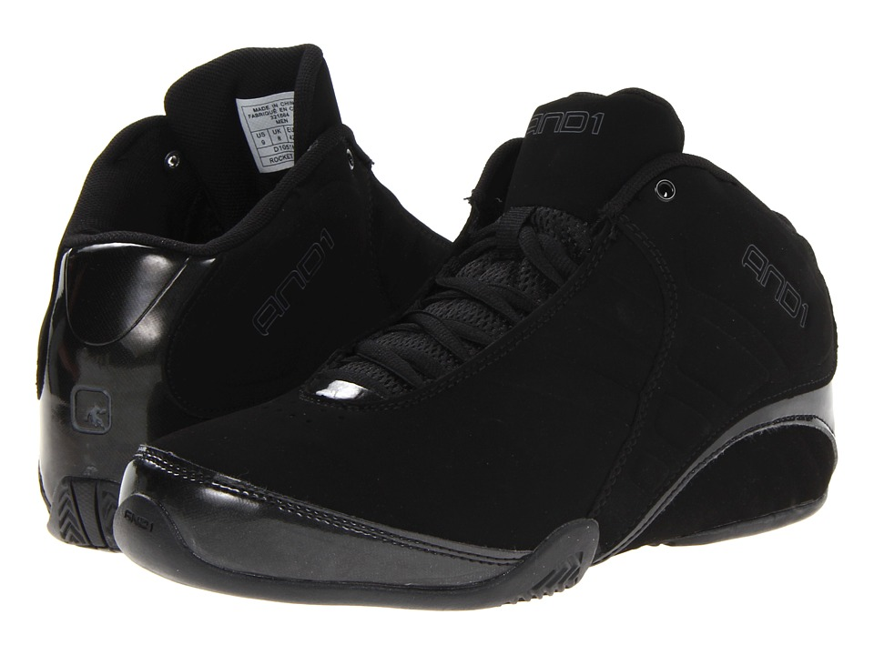 AND1 Rocket 3.0 Mid Black/Black Mens Basketball Shoes