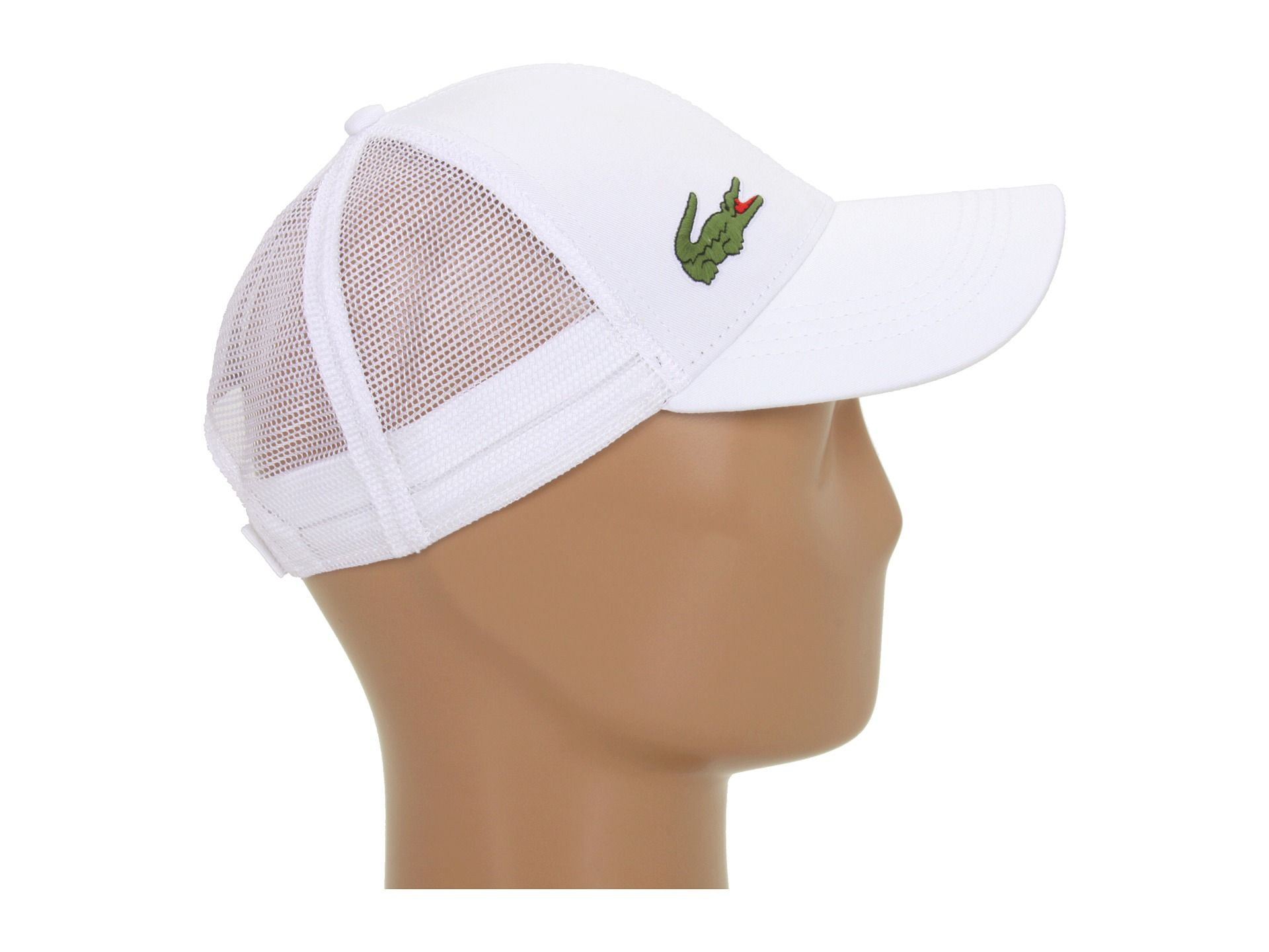 lacoste classic 5cm croc trucker hat at zappos