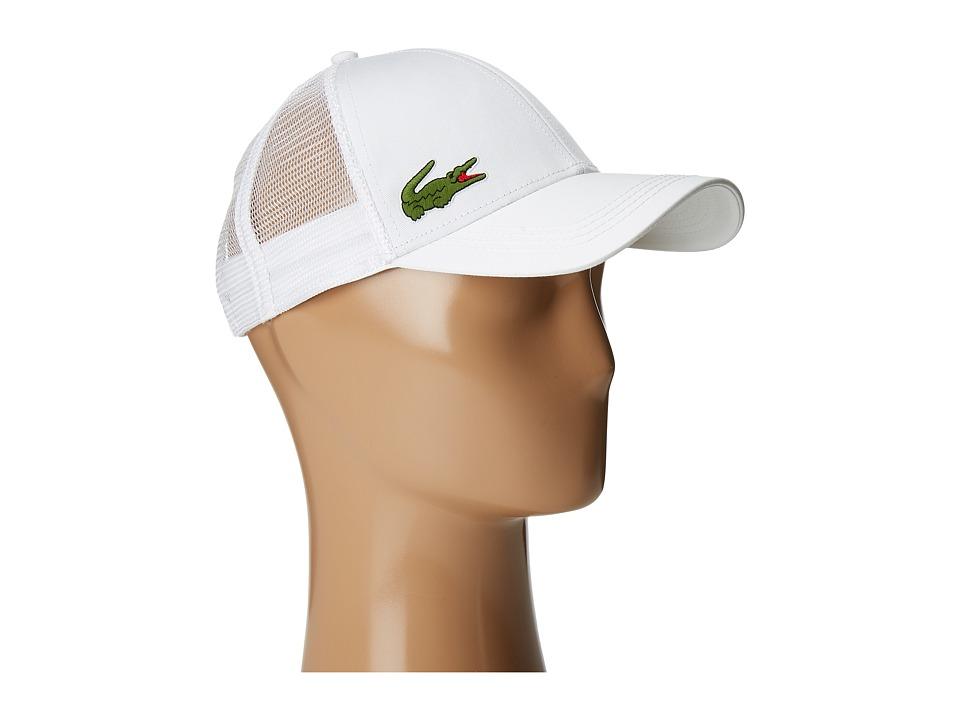 Lacoste - Classic 5CM Croc Trucker Hat (White) Caps
