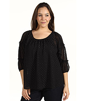 DKNY Jeans - Plus Size Clip Dot Smocked Sleeve Blouse