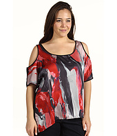 DKNY Jeans - Plus Size Oil Painting Print Cold Shoulder Top