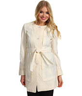 Ivanka Trump - Collarless Lace Trim Trench