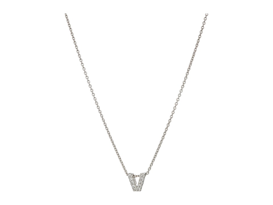 Roberto Coin - Roberto Coin Diamond Initial Necklace (White Gold-V) Necklace