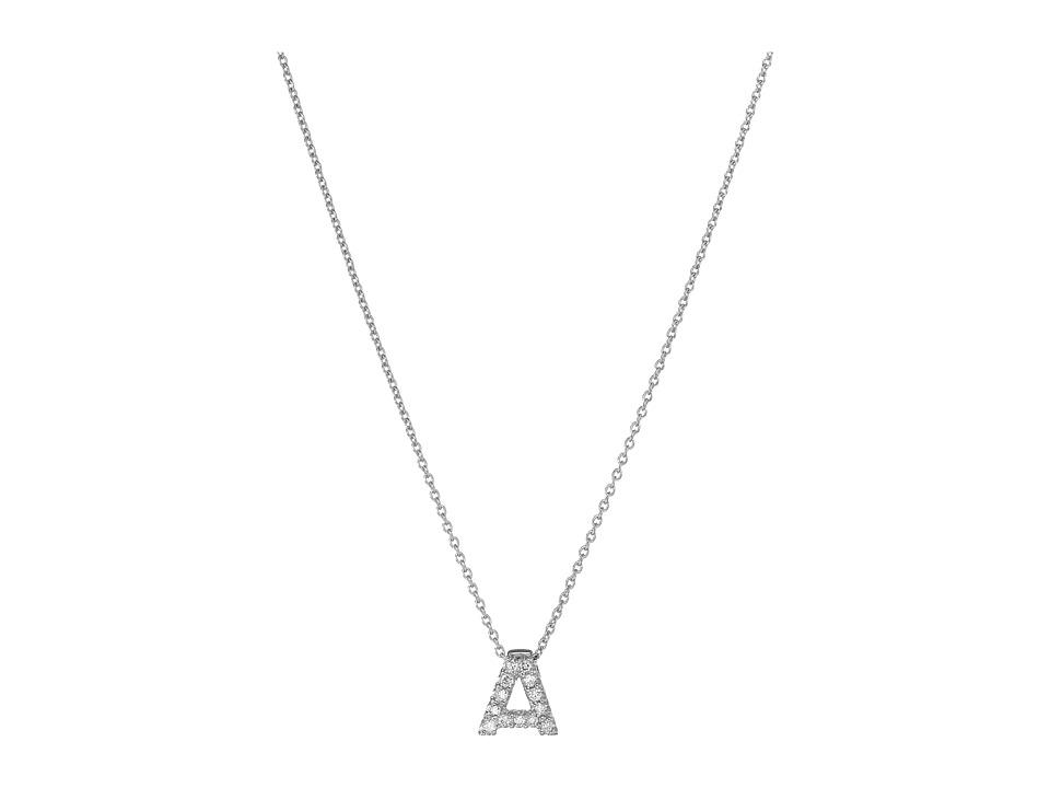 Roberto Coin - Roberto Coin Diamond Initial Necklace (White Gold-A) Necklace