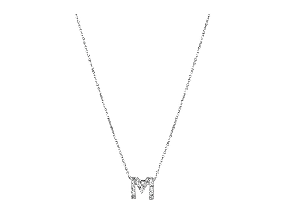 Roberto Coin Diamond Initial Necklace (White Gold-M) Neck...