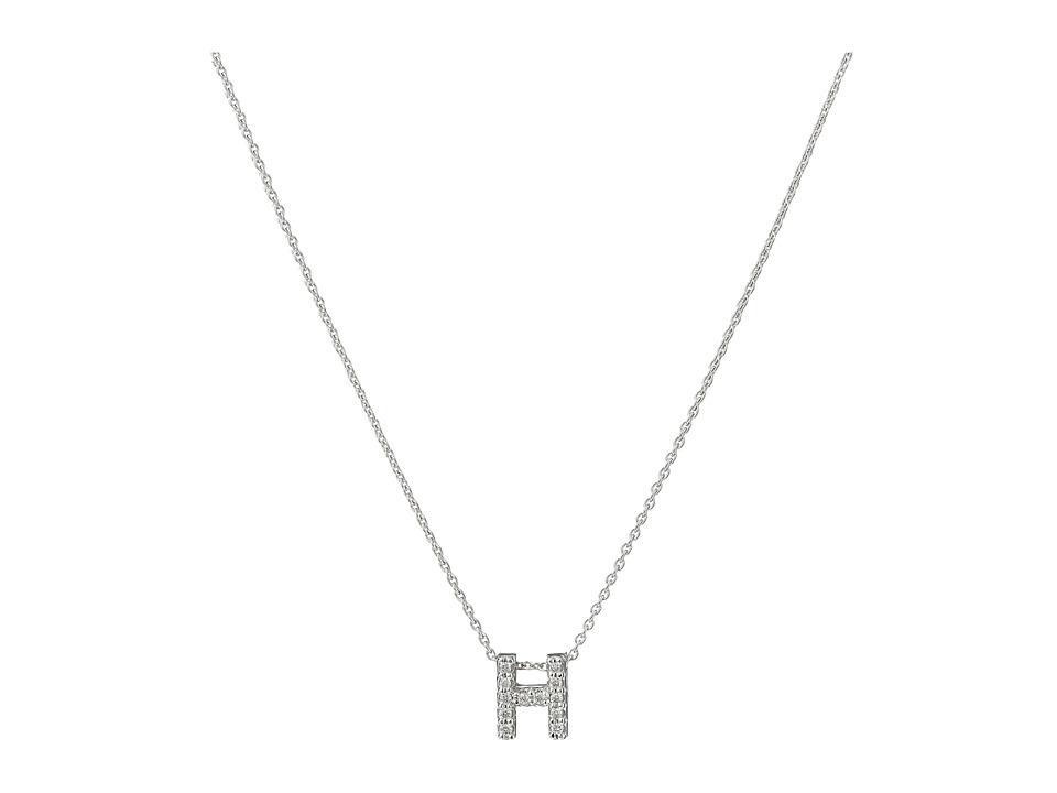 Roberto Coin - Roberto Coin Diamond Initial Necklace (White Gold-H) Necklace
