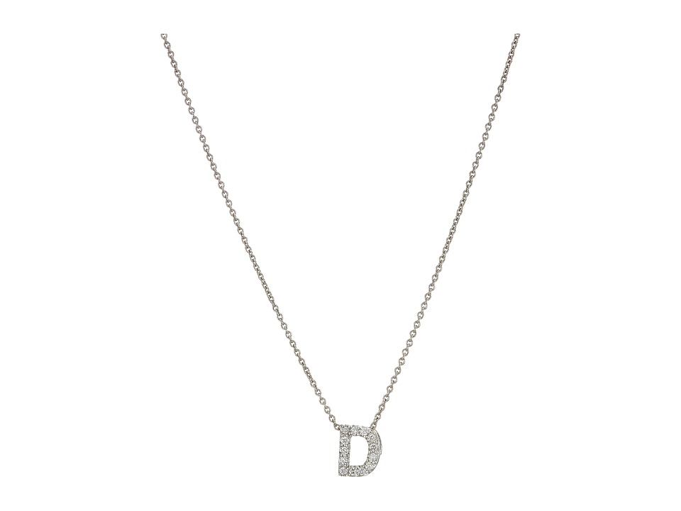 Roberto Coin Diamond Initial Necklace (White Gold-D) Neck...