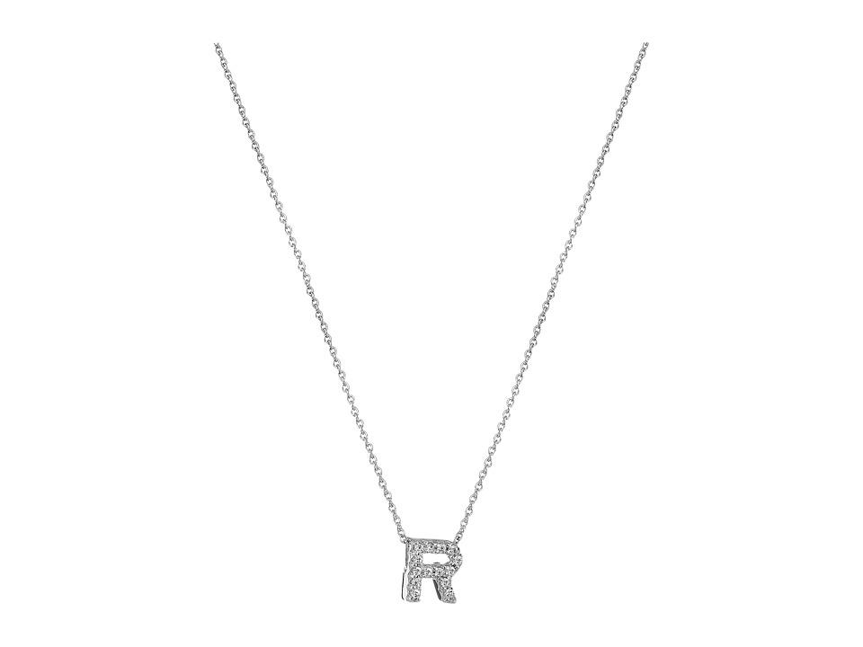Roberto Coin - Roberto Coin Diamond Initial Necklace (White Gold-R) Necklace