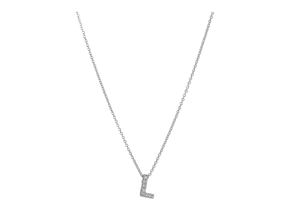 Roberto Coin Roberto Coin Diamond Initial Necklace White Gold L Necklace