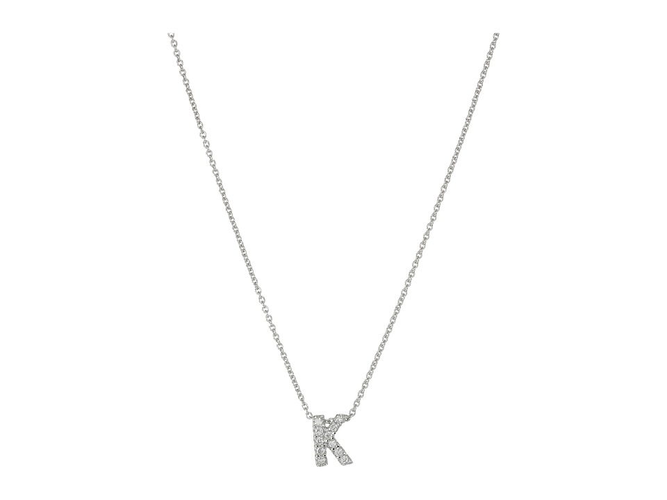 Roberto Coin Diamond Initial Necklace (White Gold-K) Neck...