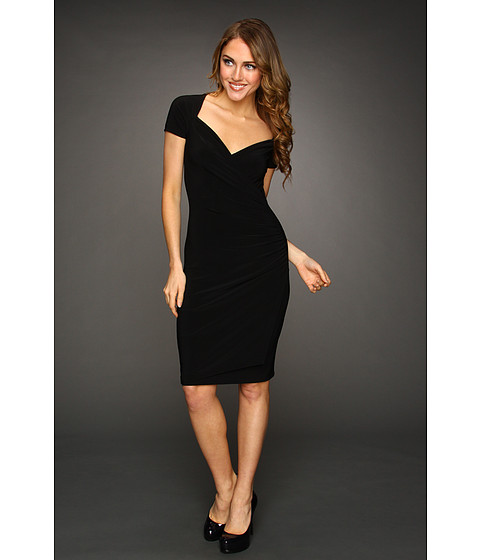 KAMALIKULTURE - S/S Sweetheart Side Draped Dress (Black) - Apparel