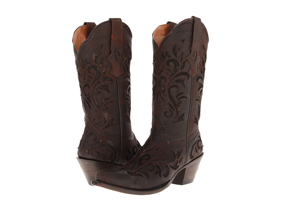 Stetson - Lace Underlay Boot (Distressed Brown) Cowboy Boots