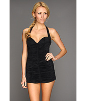 DKNY - Bardot Shirred Swimdress w/ Molded Cups