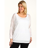 DKNY Jeans - Plus Size Mixed-Fabric Dolman Sleeve Top