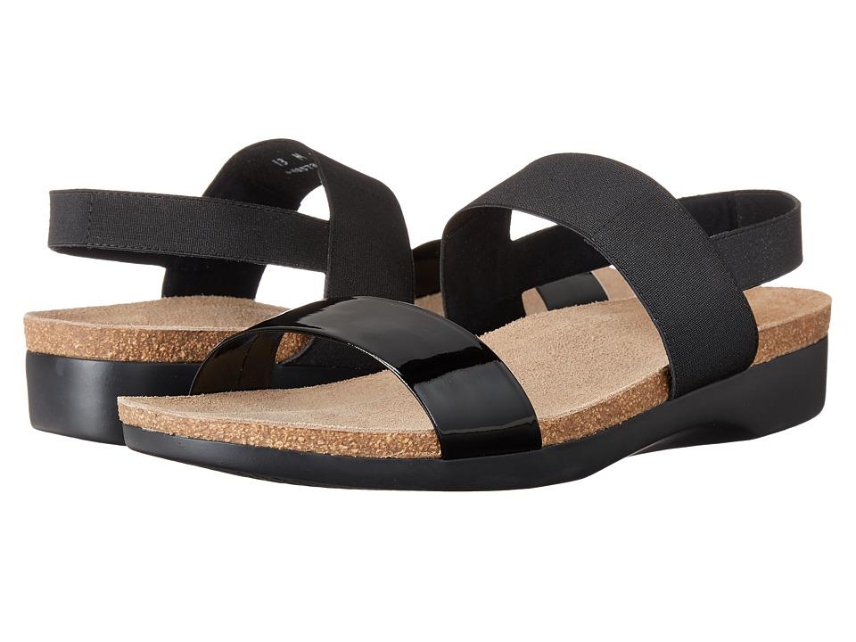 Munro American Pisces Black Patent/Black Fabric Womens Sandals
