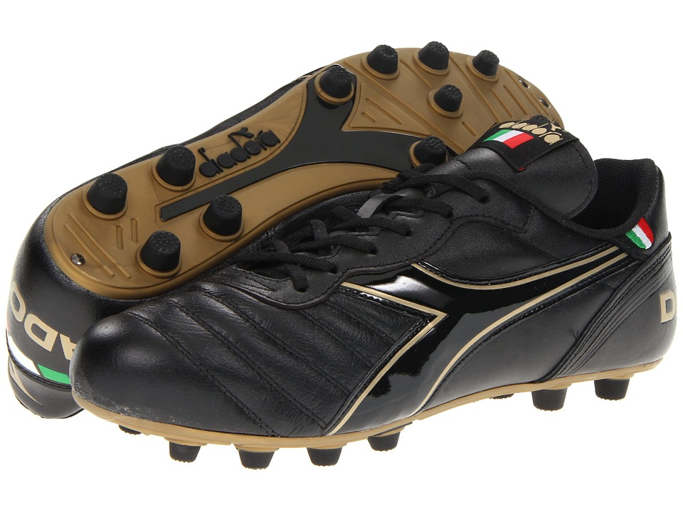Diadora Brasil Classic Black/Gold Mens Soccer Shoes