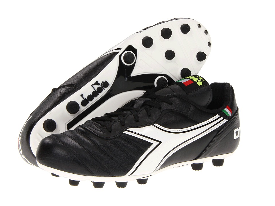 Diadora Brasil Classic Black/White Mens Soccer Shoes