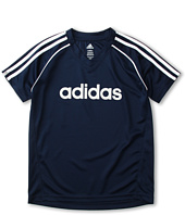 adidas Kids - Core 3-Stripe Solid Ringer Tee (Little Kids/Big Kids)