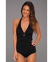 MICHAEL Michael Kors - Linked Solids Shirred Halter Maillot
