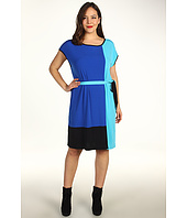 Calvin Klein - Plus Size Color Block Self Belt Dress