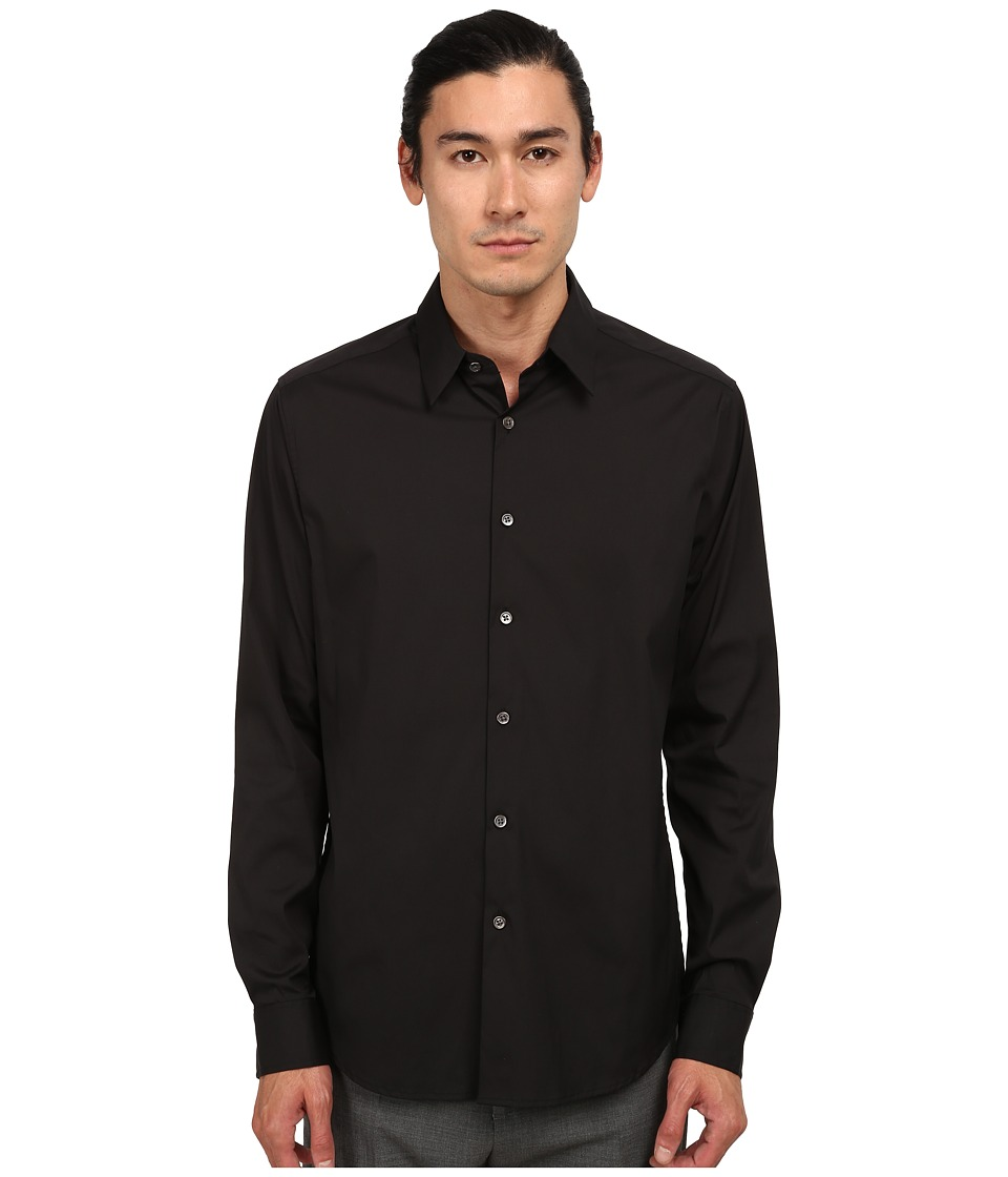 Theory Sylvain Black Mens Long Sleeve Button Up