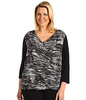 Calvin Klein - Plus Size Mix Media Wrap Top