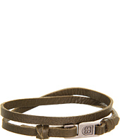 gorjana - Harrison Leather Double Wrap (Olive) (Oxidized Silver)