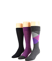 Cole Haan - Spring Argyle/Squares & Pin Stripes/Rib Knit - 3 Pack