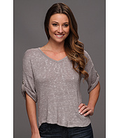 C&C California - Slub Tab Sleeve V-Neck Top